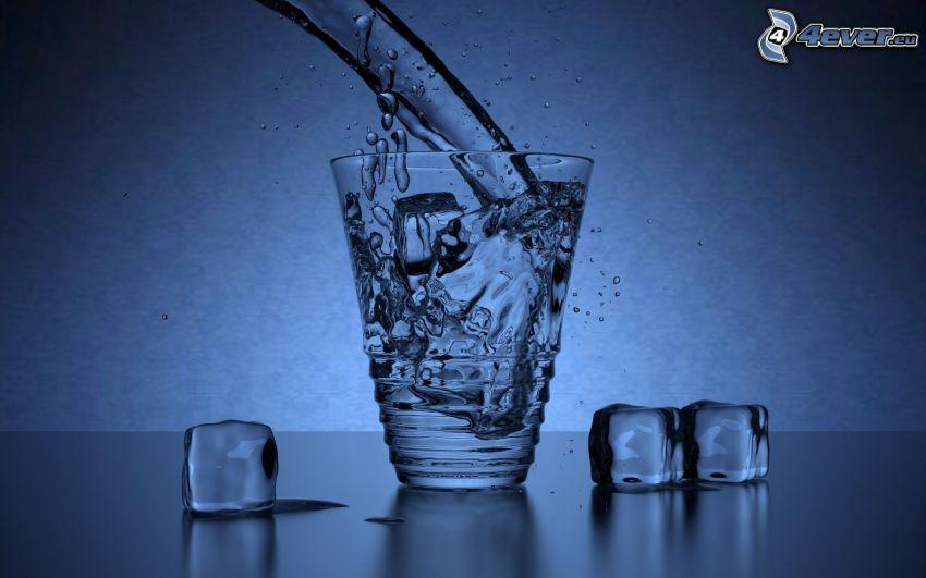 tazza, getto d'acqua, cubi di ghiaccio