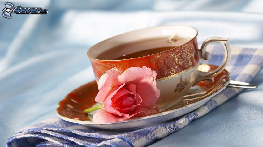 tazza di tè, rosa