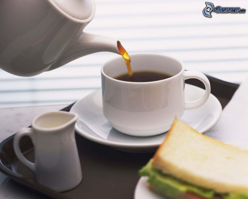 tazza di tè, teiera
