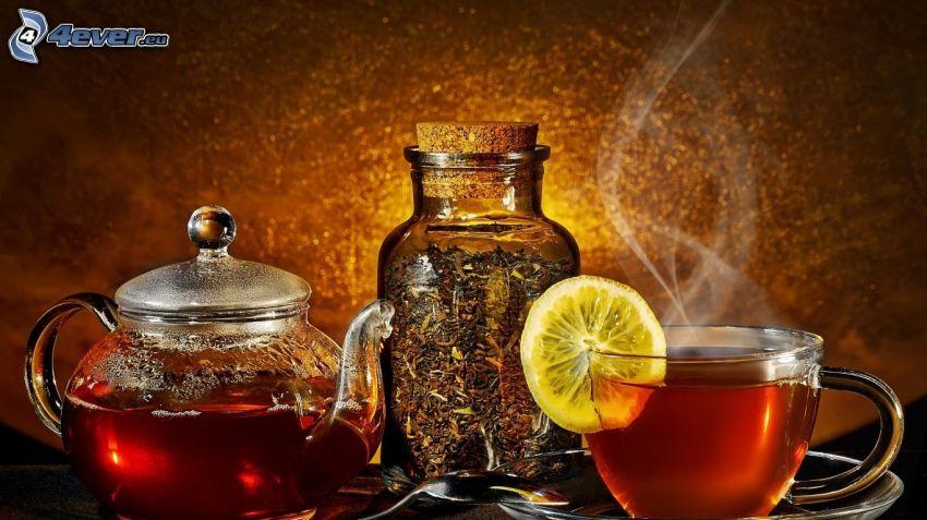 tè, tazza di tè, teiera, fetta di limone