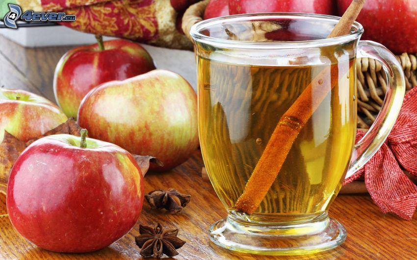 tè con la cannella, mele