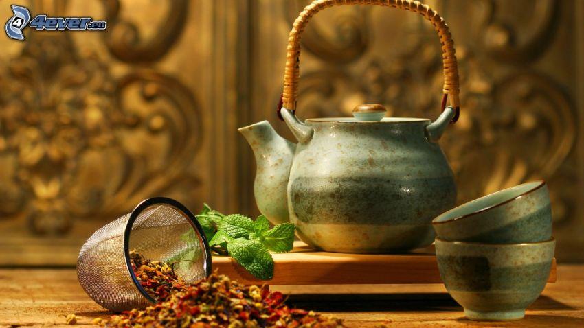teiera, tazza di tè, tè sfuso