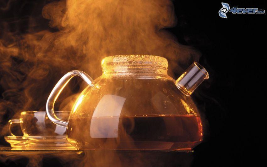 teiera, vapore, tè