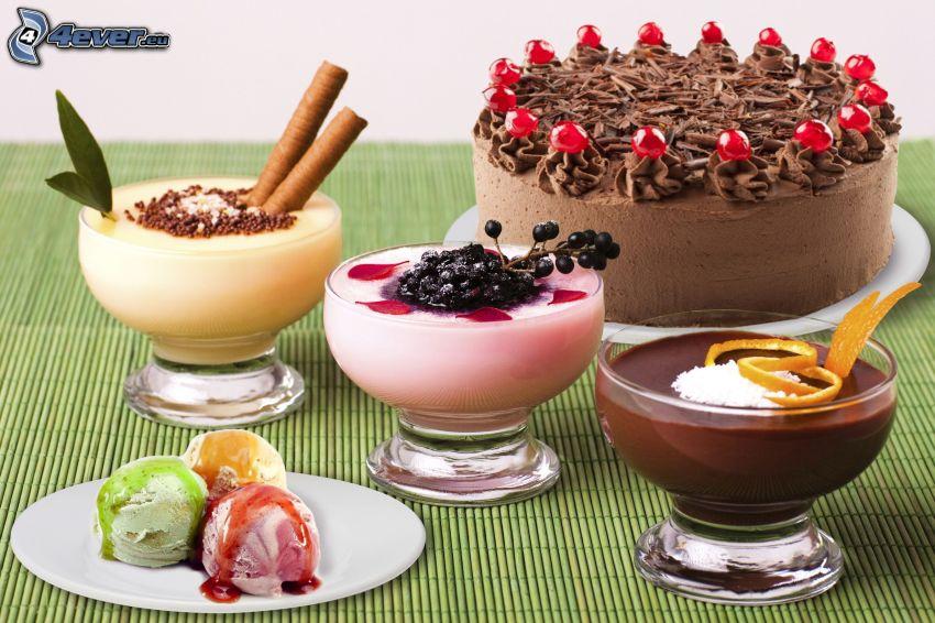 torta, budino, gelato