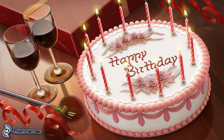 torta, candele, vino