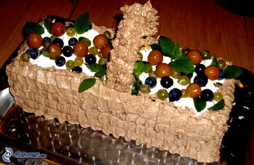 torta, frutta, cesto