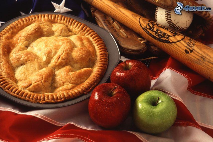torta di mele, mele, mazza da baseball
