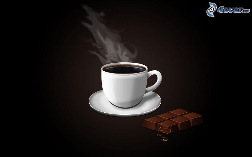 una tazza di caffè, cioccolato, sfondo nero