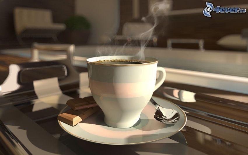 una tazza di caffè, cioccolato