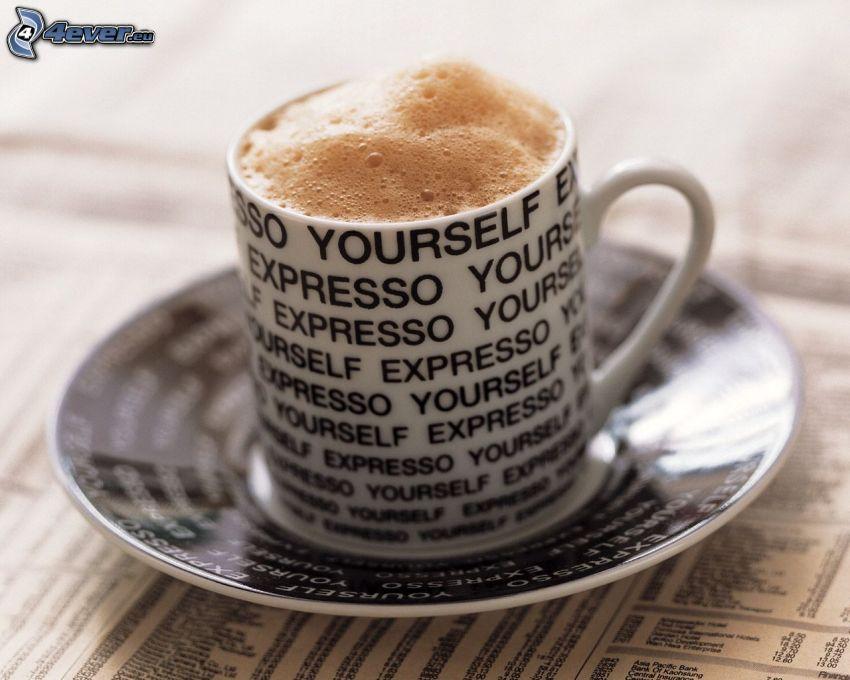 una tazza di caffè, text