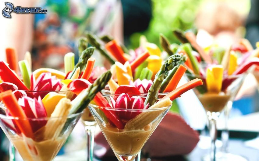 verdura, bicchieri