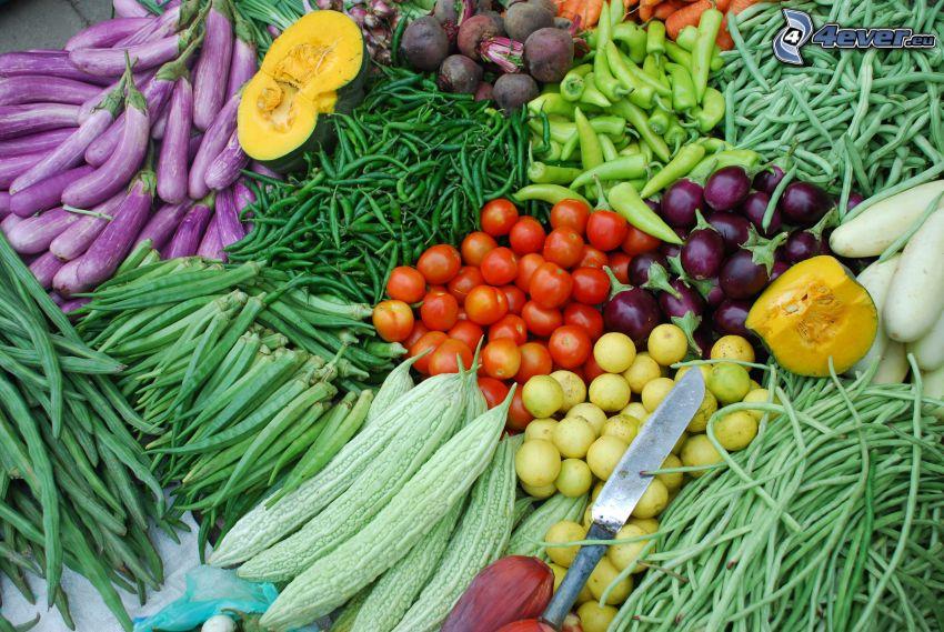 verdura, mercato, pomodori, cipolle, piselli