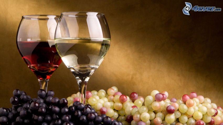 vino, uva, bicchieri