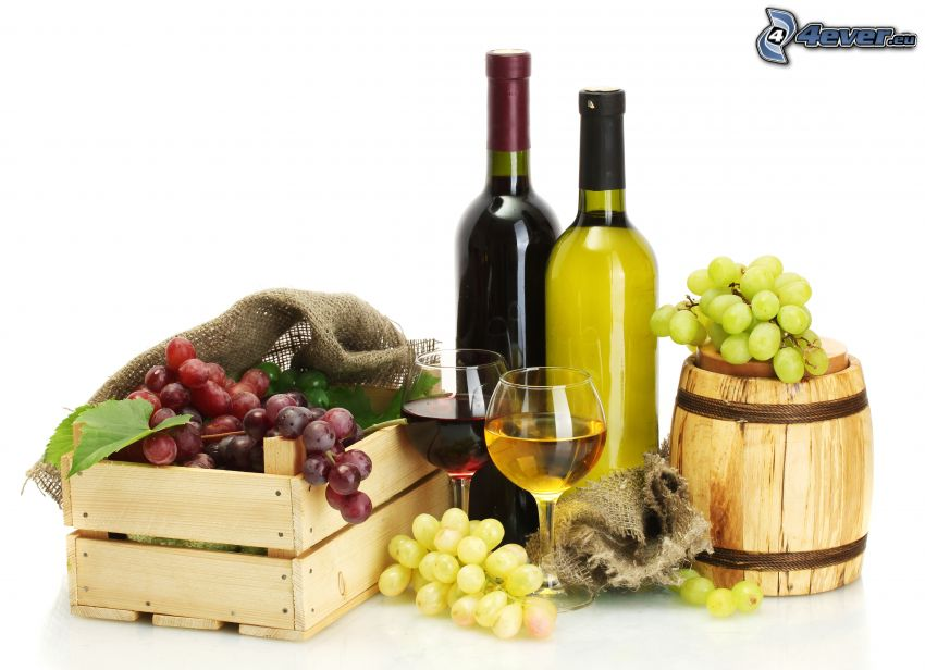 vino, uva, scatole