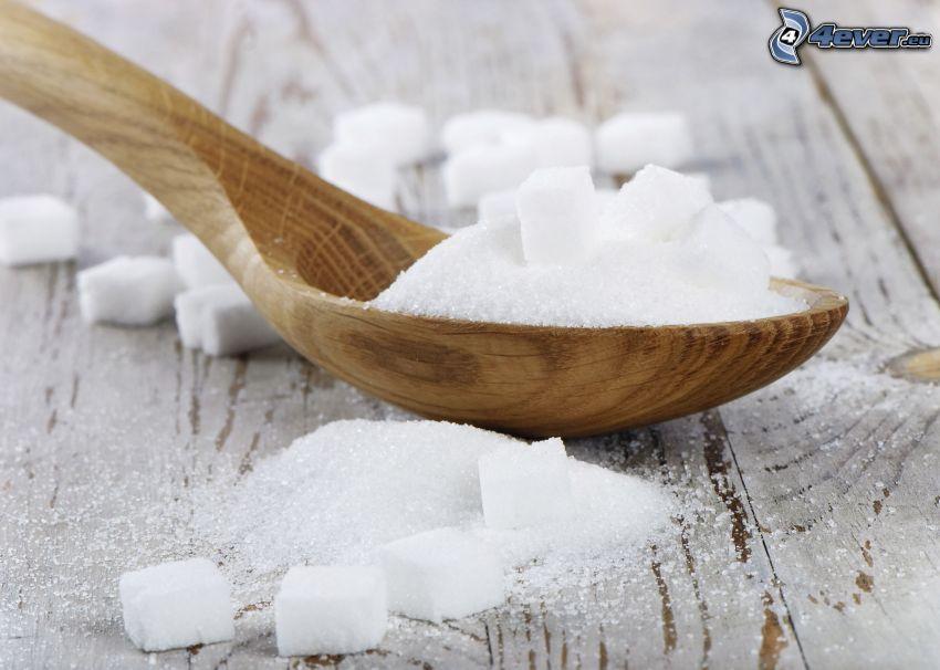zucchero, zucchero in quadretti, cucchiaio