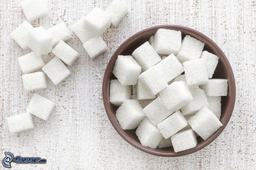 zucchero in quadretti, ciotola