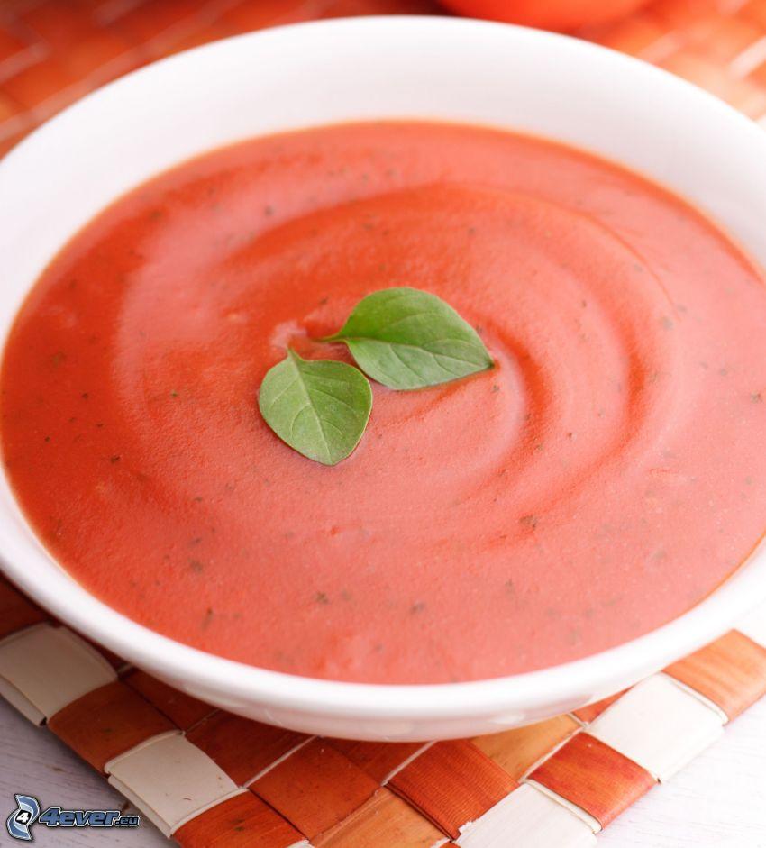 zuppa di pomodoro, basilico