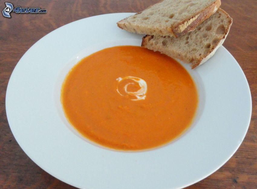 zuppa di pomodoro, pane