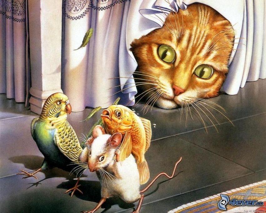 gatto disegnato, pappagallo, topo, pesce d'oro, preda