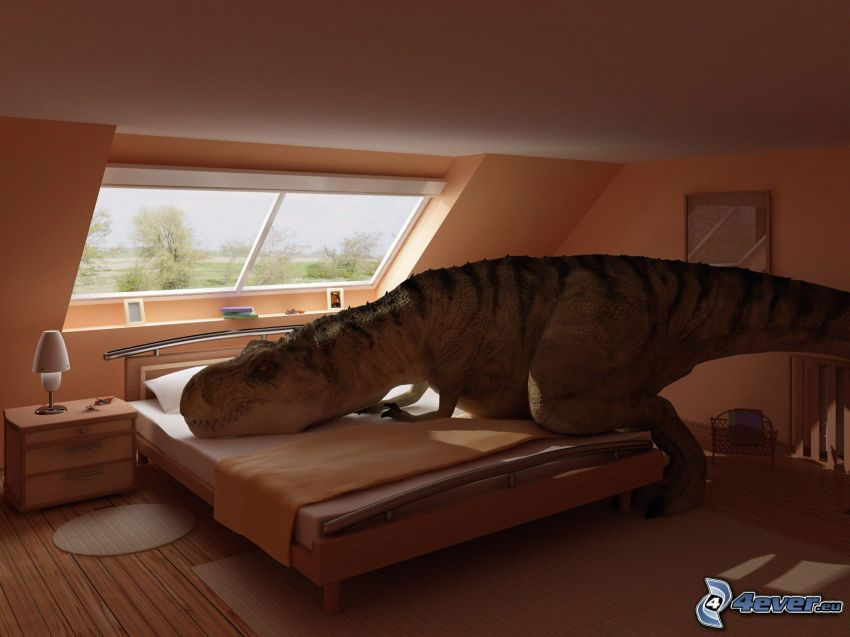 Tyrannosaurus, dinosauro, sonno, camera da letto