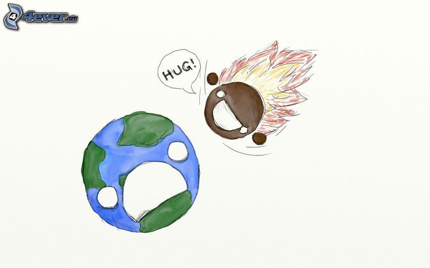 collisione nello spazio, Terra, meteorite, abbraccio