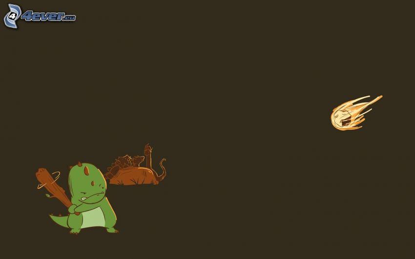 dinosauro, baseball, meteorite
