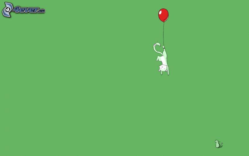 gatto disegnato, gatto bianco, palloncino