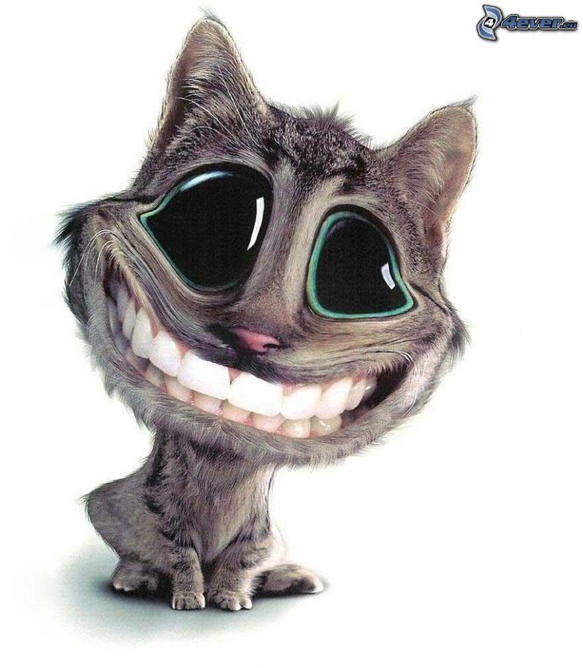 gatto disegnato, occhi, sorriso