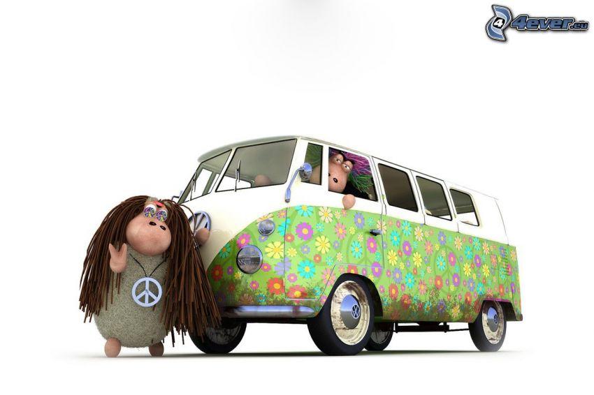 pecore, Volkswagen Type 2, caravan