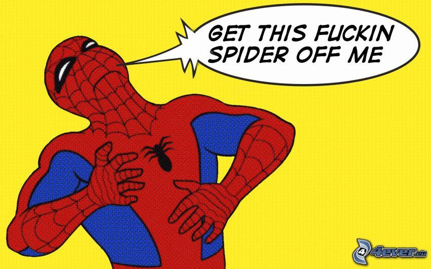 Spiderman, ragno, text