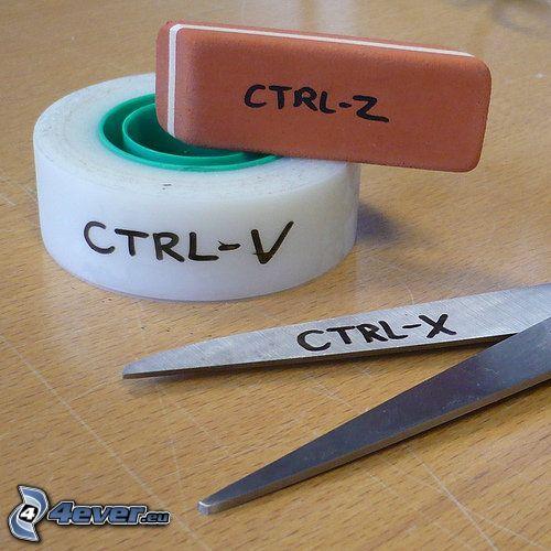 Ctrl - V, Ctrl - Z, Ctrl - X, gomma, forbici, nastro