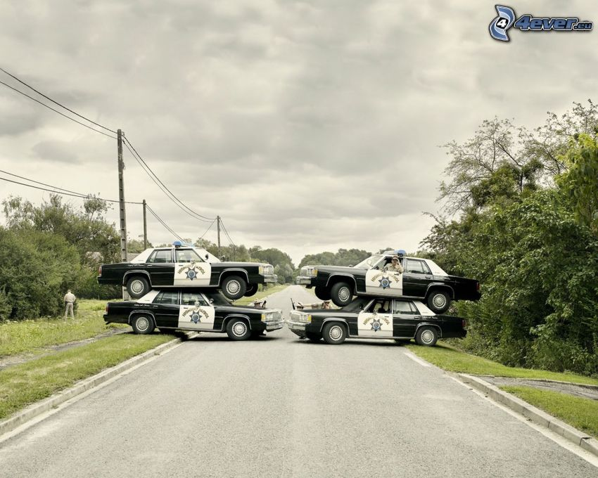 intasamento, polizia, strada diritta