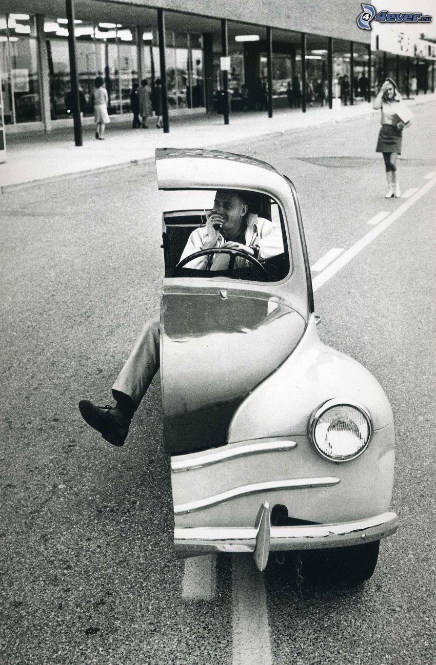 meta di auto, foto in bianco e nero
