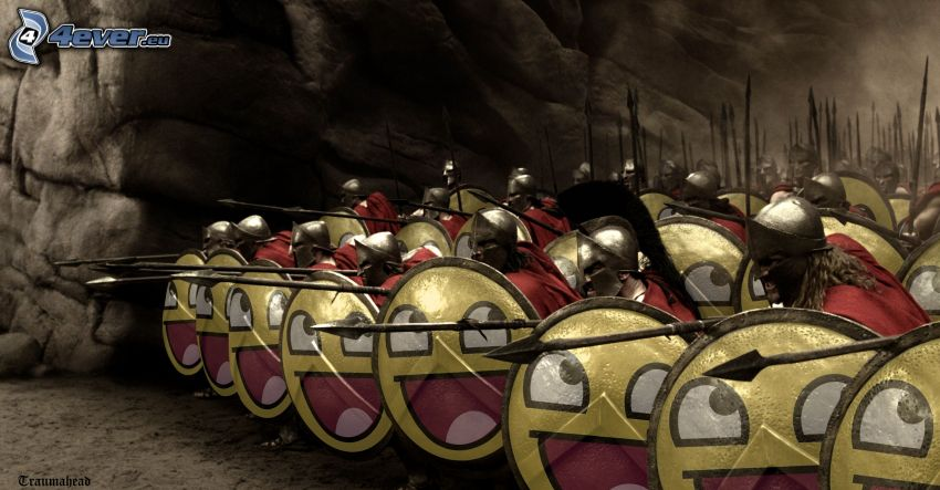 300, soldati, lo smiley, parodia