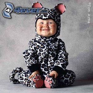 bambino, leopardo, costume