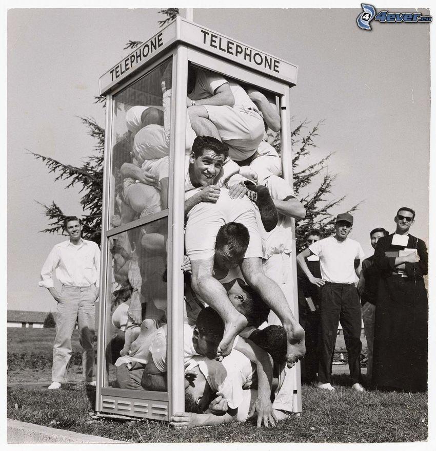 cabina telefonica, uomini, record