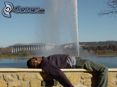 divertente, fontana, uomo