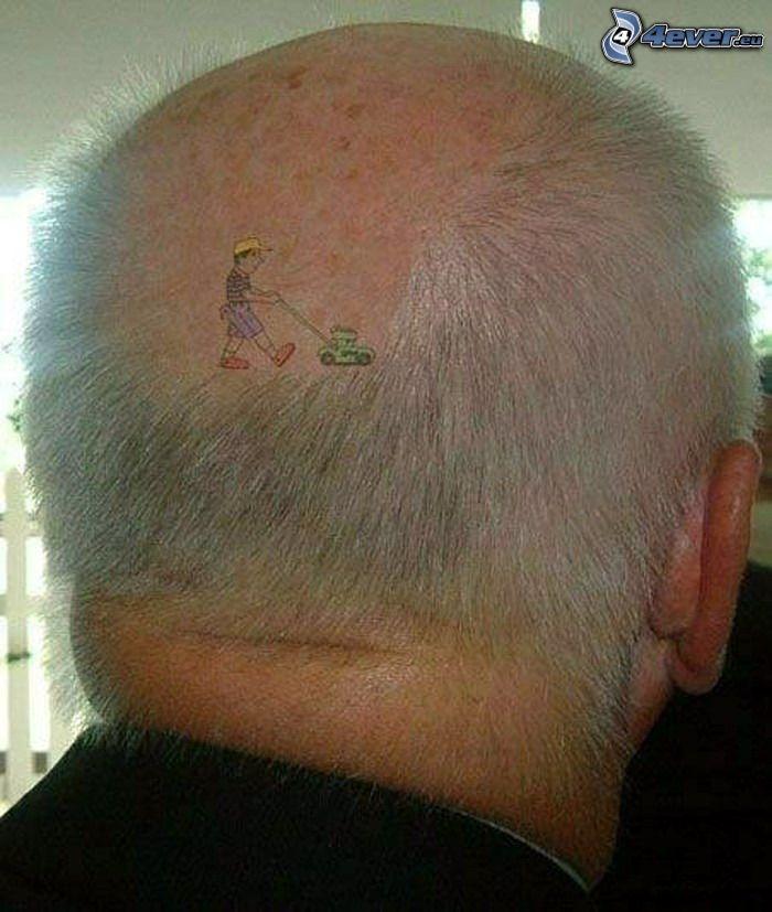 falciatore, tatuaggio, calvizie