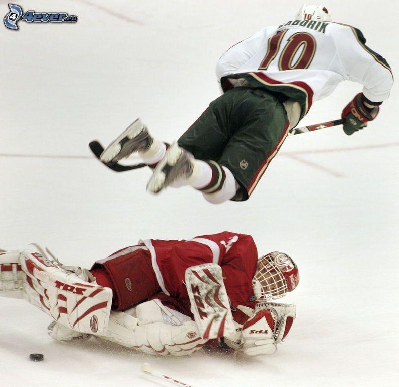 istantanea, NHL, giocatori di hockey, hockey, portiere, Jaroslav Hašek, Marián Gáborík