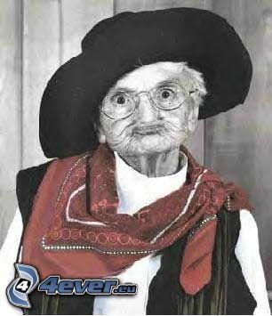 nonna, cappello, cow girl, sciarpa