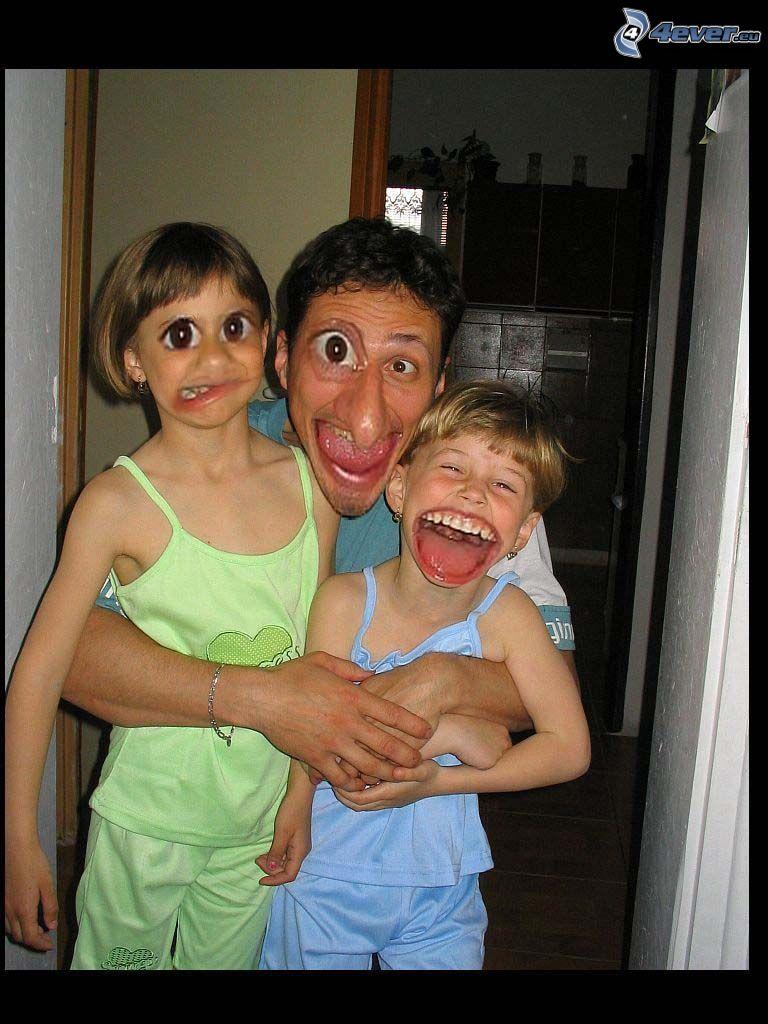 sorrisi, caricatura, famiglia, Photoshop