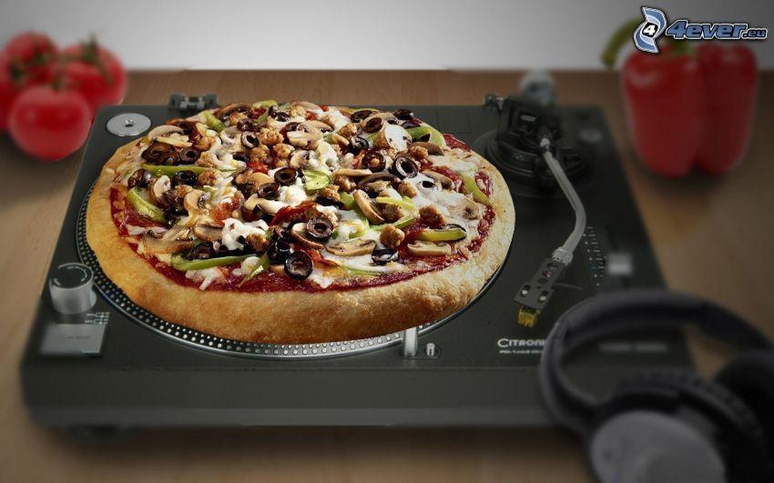 pizza, giradischi