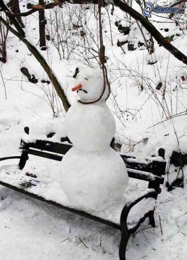 pupazzo di neve, impiccato, panchina