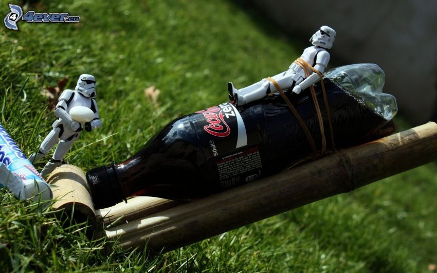 razzo, Coca Cola, Mentos, Stormtrooper, parodia