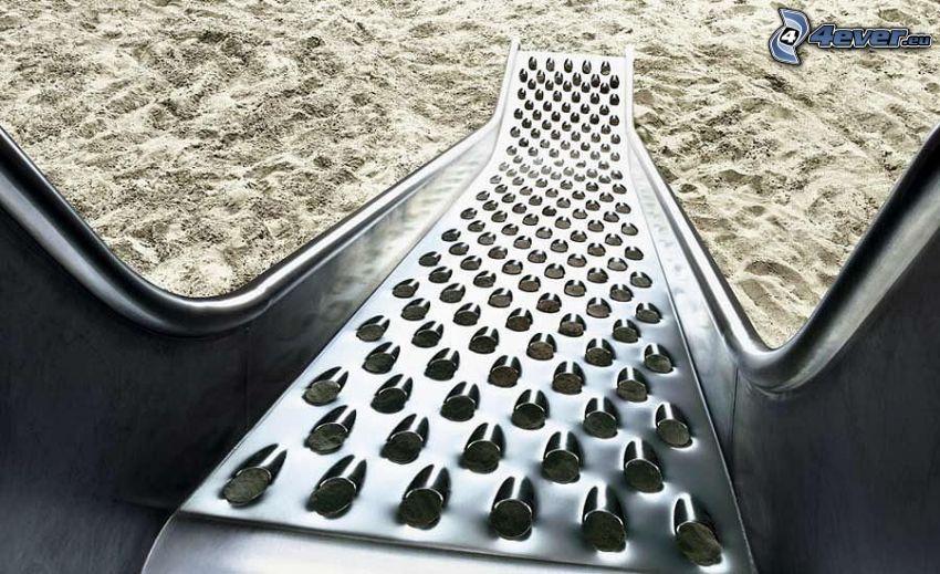 scivolo grattugia, sabbia