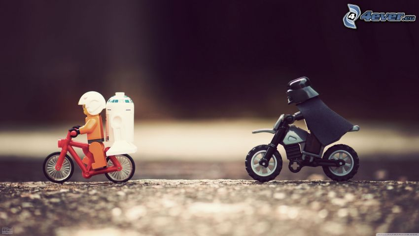 Star Wars, parodia, Lego, Darth Vader, R2 D2, bicicletta