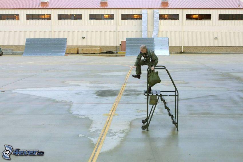 aereo da caccia invisibile, soldato, scale