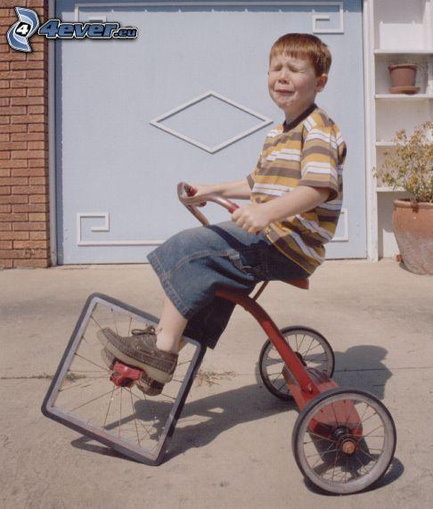 Bike fail, tristezza, bambino