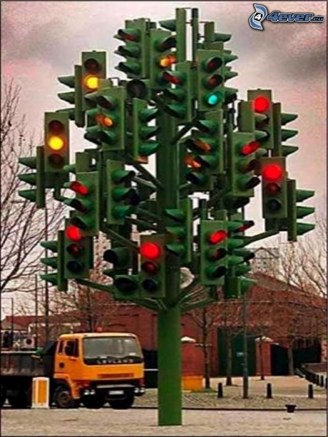 semaforo, albero di Natale