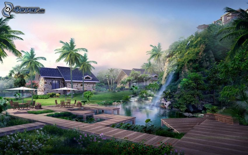 casa, molo di legno, cascata, palme, alberi, laghetto